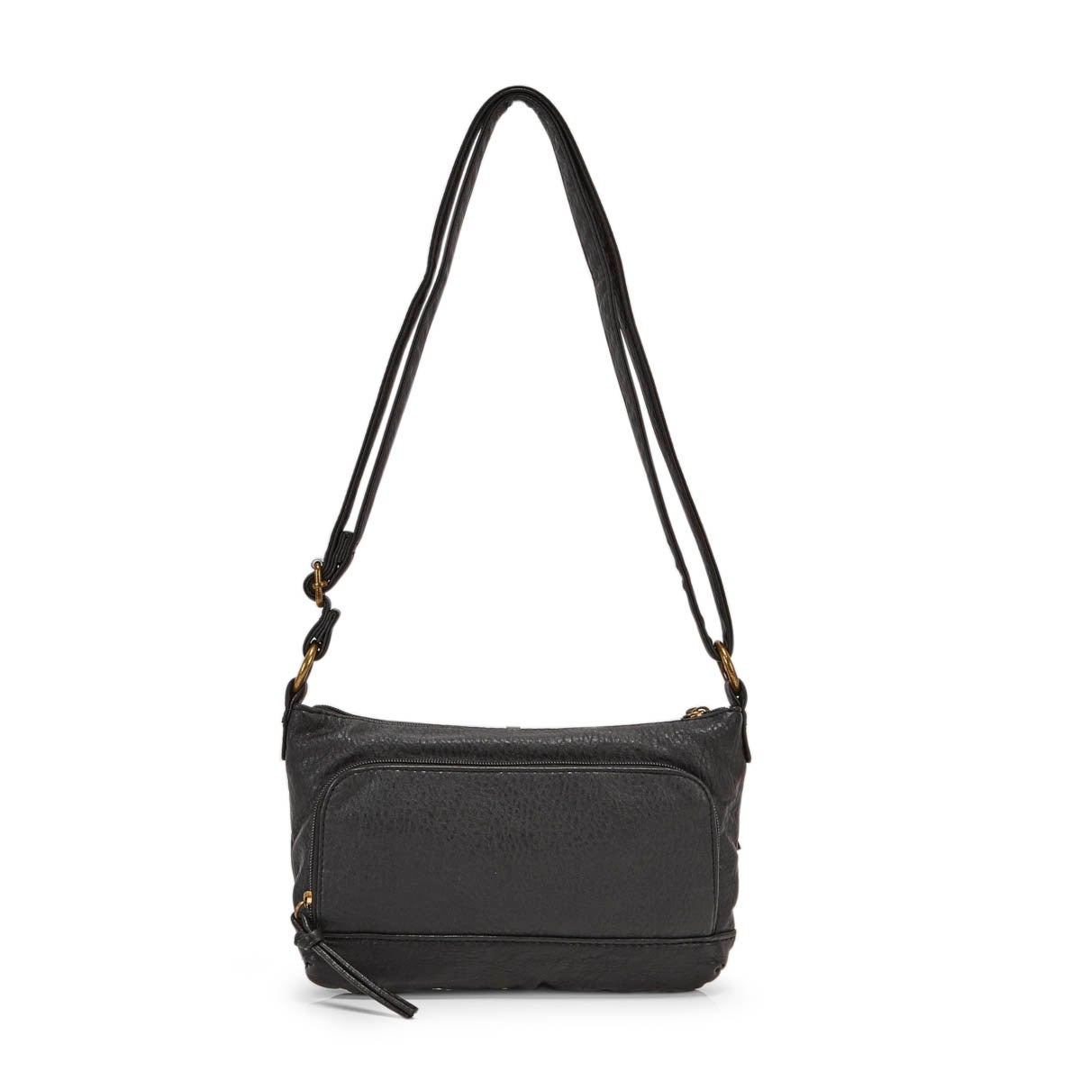 Lds black double zip crossbody bag