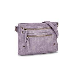 Lds lilac multi zip crossbody bag