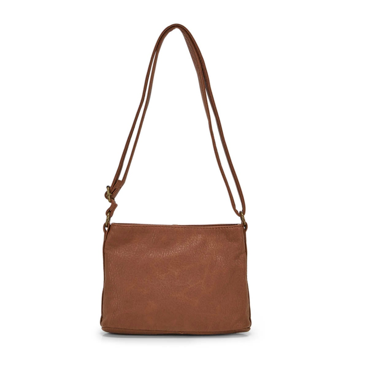 Lds tan multi zip crossbody bag