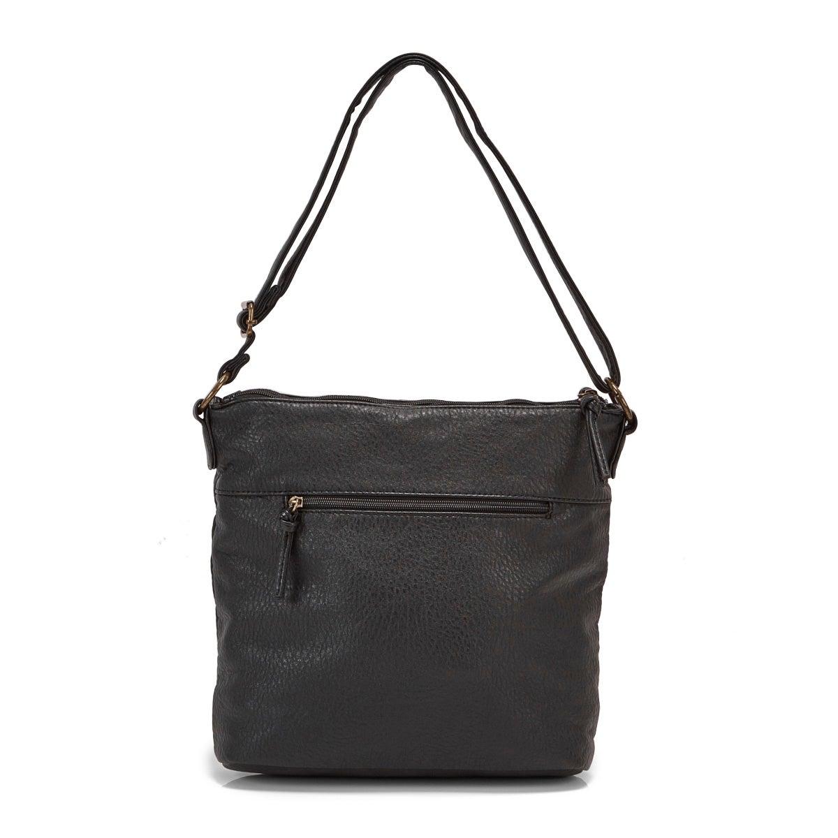 Lds black double side zip crossbody bag