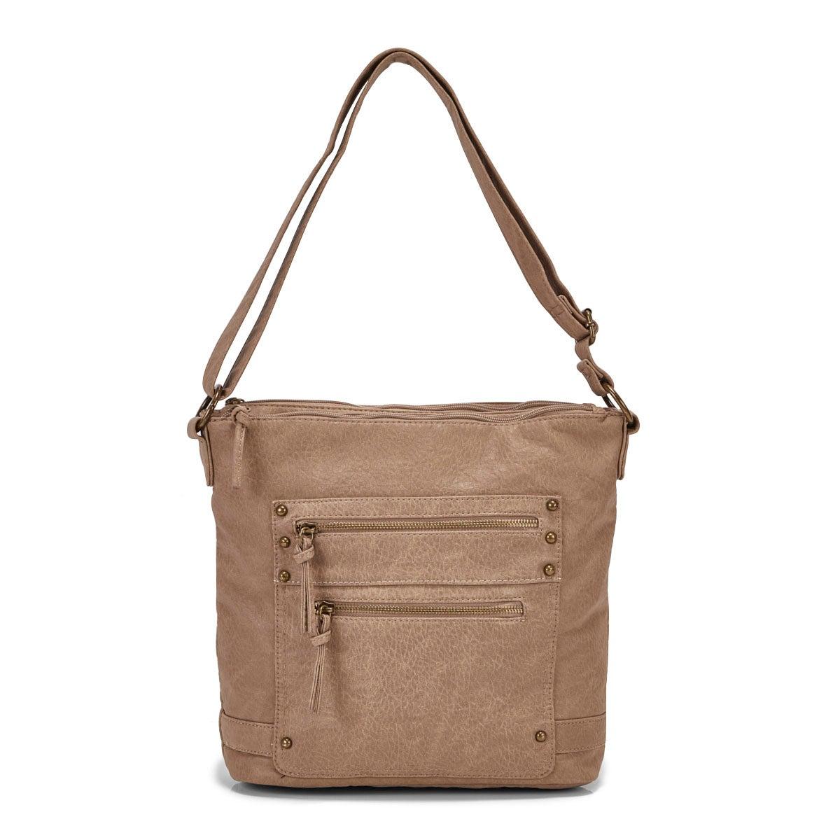 Lds sand double side zip crossbody bag