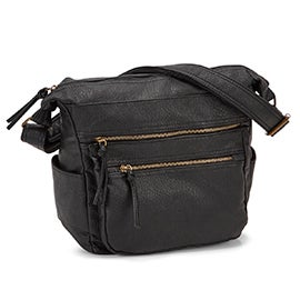 Lds black multi compartment shoulder bag