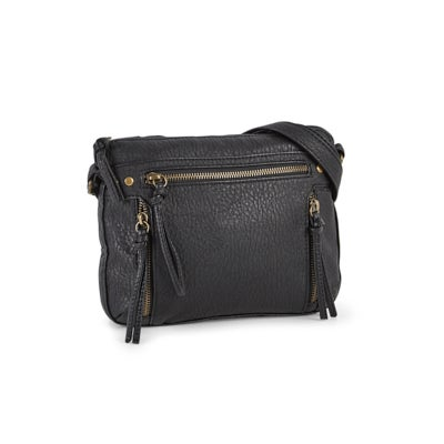 Lds black multi zip crossbody bag