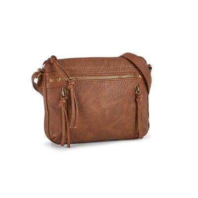 Lds british tan multi zip crossbody bag