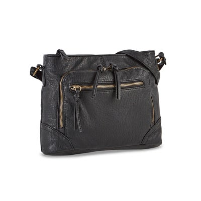 Lds black front zip pocket crossbody bag