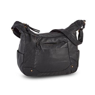 Lds black front zip pocket shoulder bag