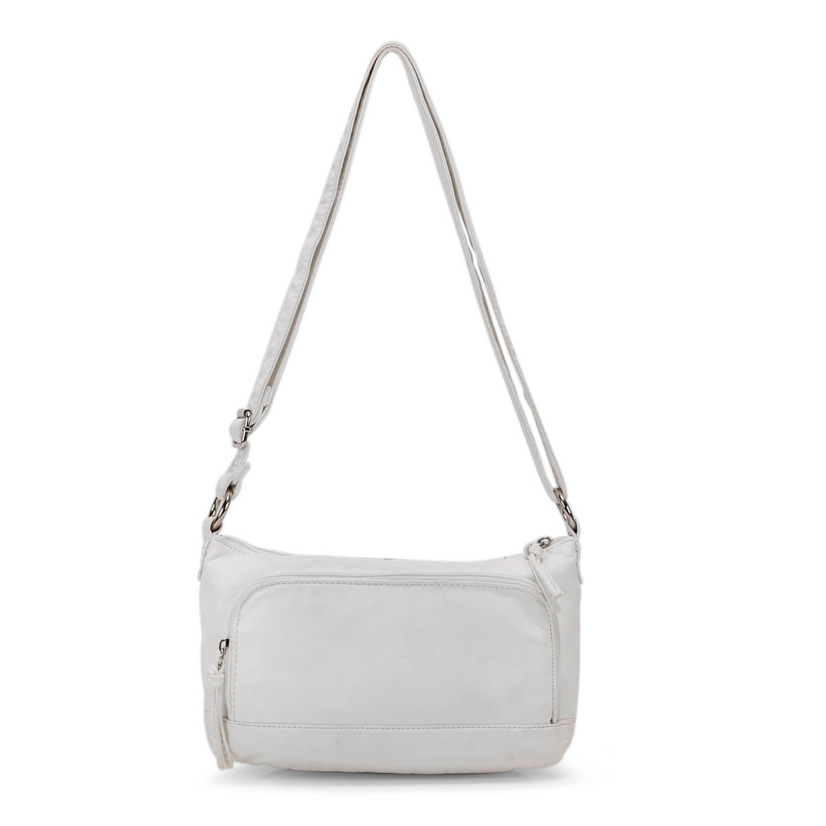 Lds white pearlized crossbody bag