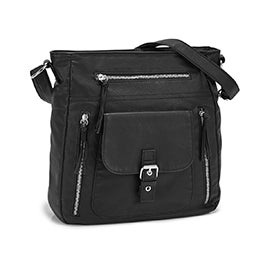 Lds black smooth crossbody bag