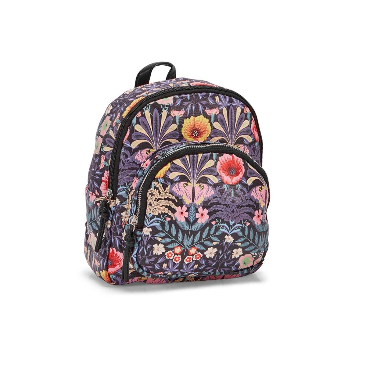 Lds blk flower/butterfly backpack