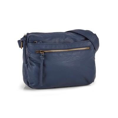 Lds navy zip pocket crossbody bag