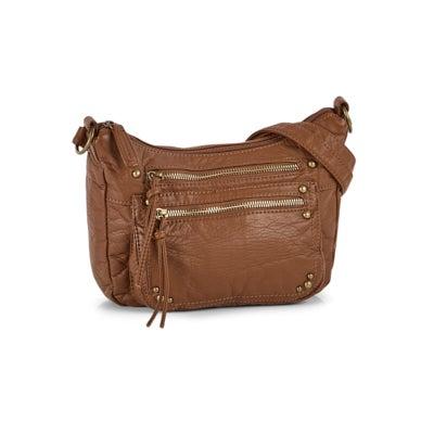 Lds bronze 2 zip pocket shoulder bag