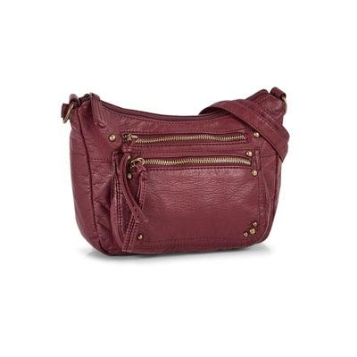 Lds wine 2 zip pocket shoulder bag