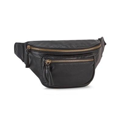 Lds black 2 zip fanny pack