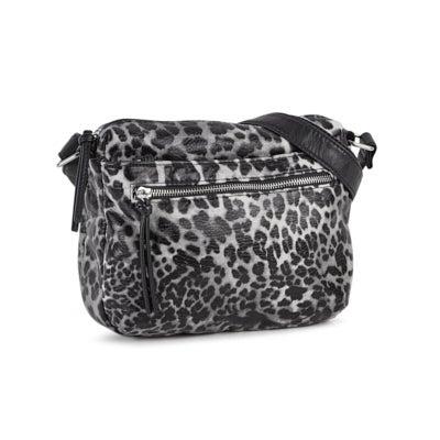 Lds charcoal cheetah 2 zip fashion bkpk