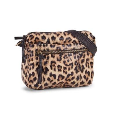 Lds camel leopard 2 zip fashion bkpk
