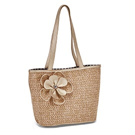Lds natural/gold flower detail tote bag