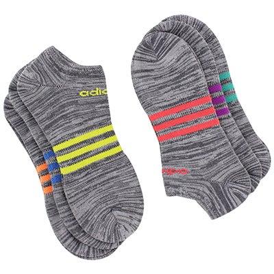 Adidas Women's SUPERLITE grey/multi no show socks - 6pk