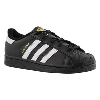 Adidas Boys' SUPERSTAR FOUNDATION bk/wht lace up sneakers