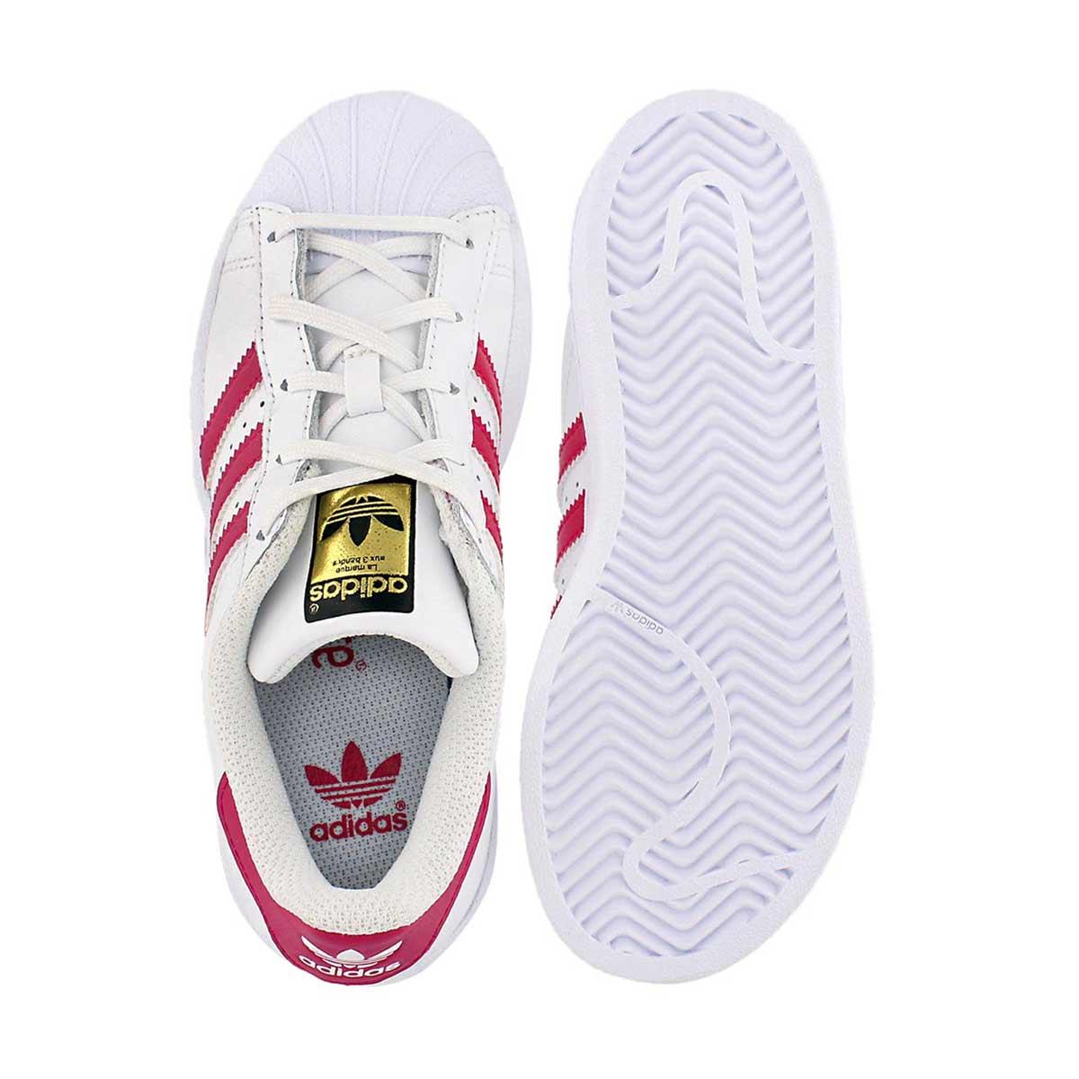 Grls Superstar wht/pnk sneaker