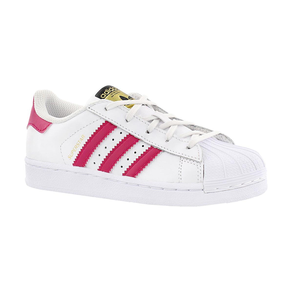 Girls' SUPERSTAR FOUNDATION white/pink sneakers