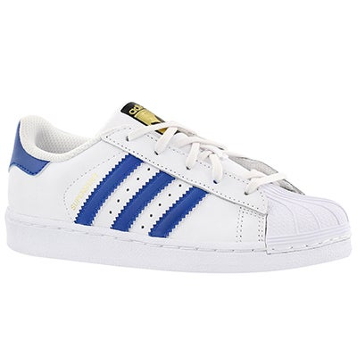Adidas Boys' SUPERSTAR FOUNDATION wht/blue sneakers