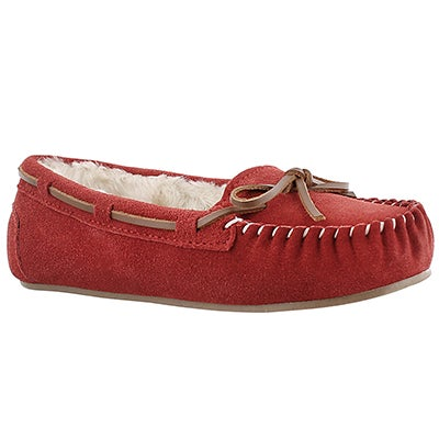 SoftMoc Women's BALI II red suede ballerina moccasins
