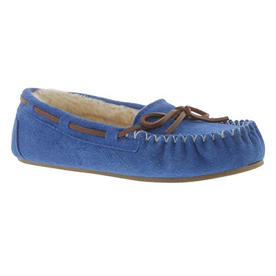 SoftMoc Women's BALI II blue suede ballerina moccasins