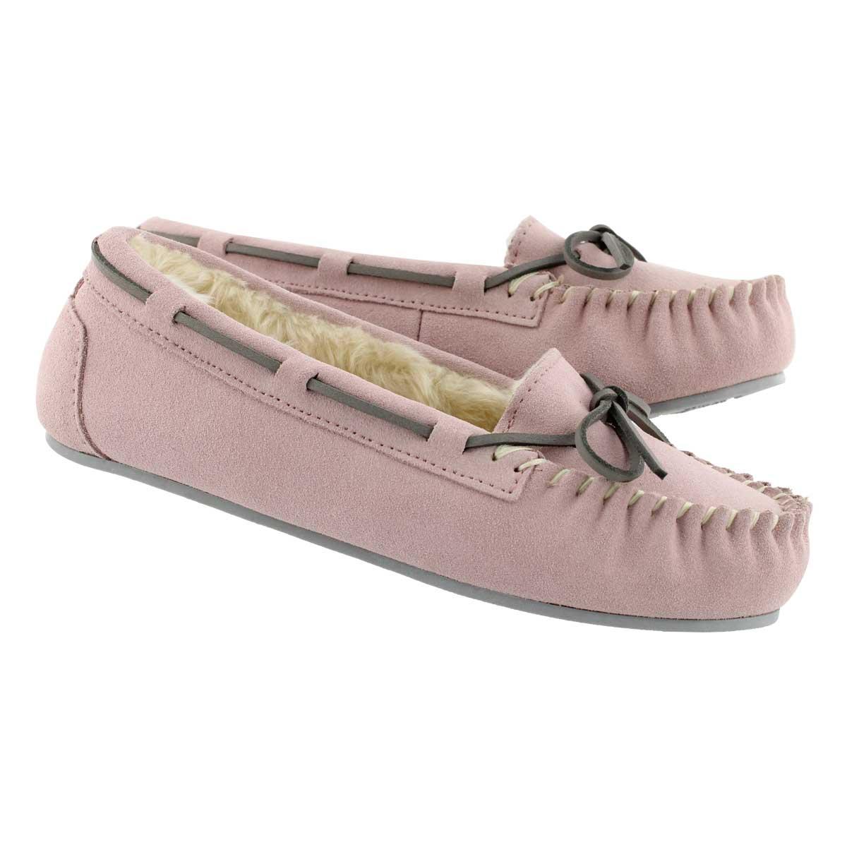 Lds Bali II pink suede ballerina moc