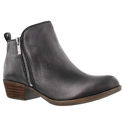 Lucky Brand Women's BASEL black zip up casual booties
