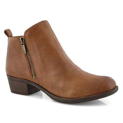 Lucky Brand Women's BASEL toffee zip up casual booties