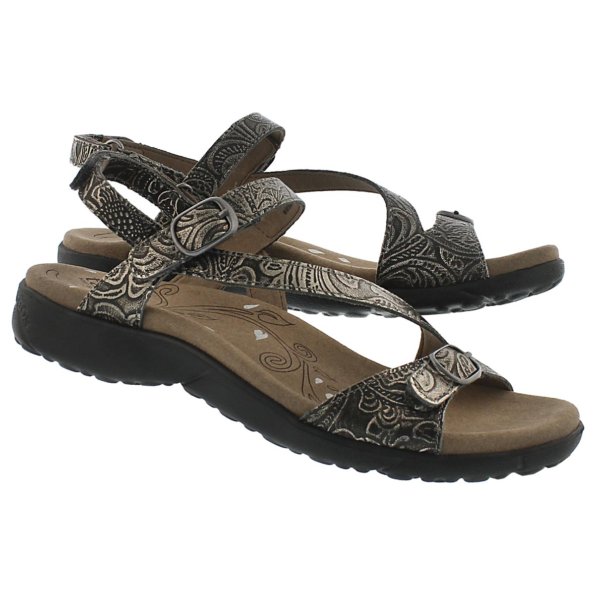 Lds Beauty gold embossed casual sandal