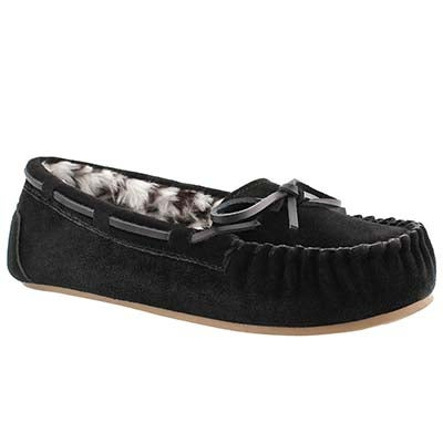 SoftMoc Women's BECKY black suede ballerina moccasins