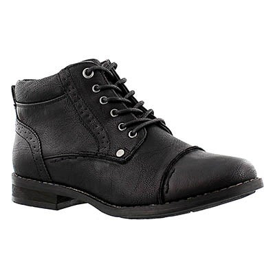 SoftMoc Women's BELICIA black lace up ankle boots