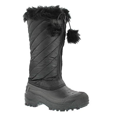 SoftMoc Girls' BERNYCE black zip up winter boots