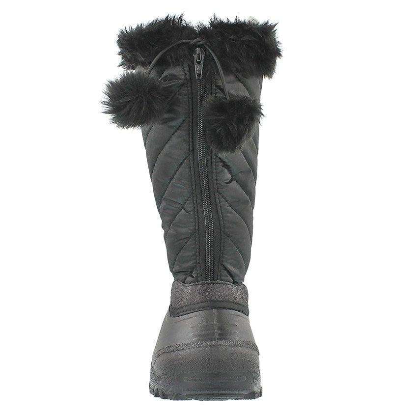 Grls Bernyce black zip up winter boot