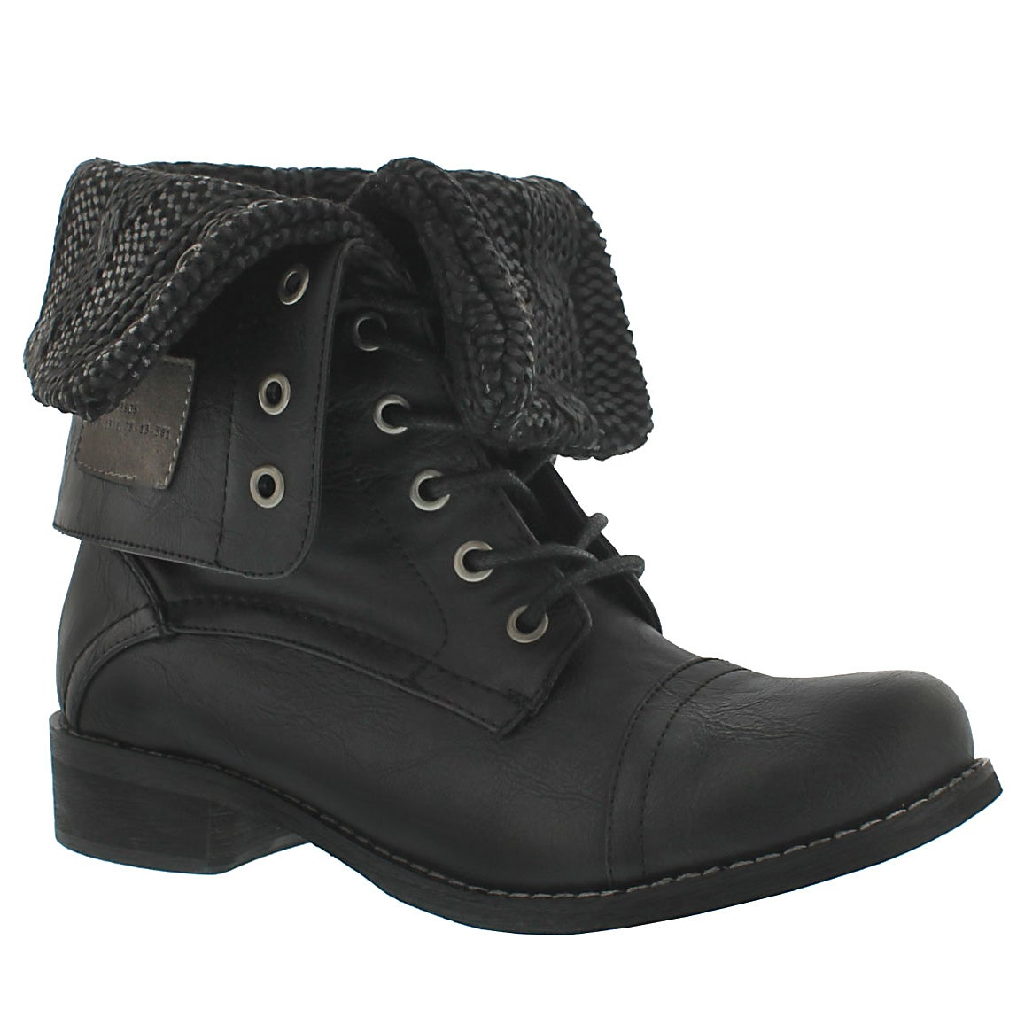 Lds Bev blk lace up fold dwn combat boot