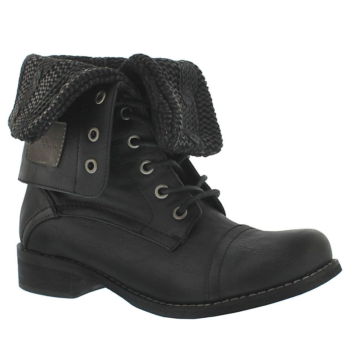 Women's BEV black lace up fold down combat boots