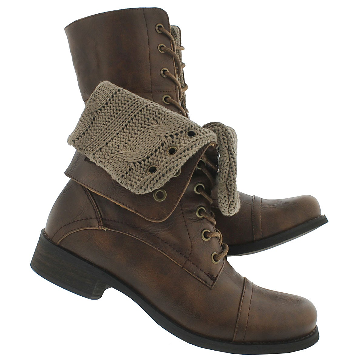 SoftMoc Women's BEV brown lace up fold down combat boots