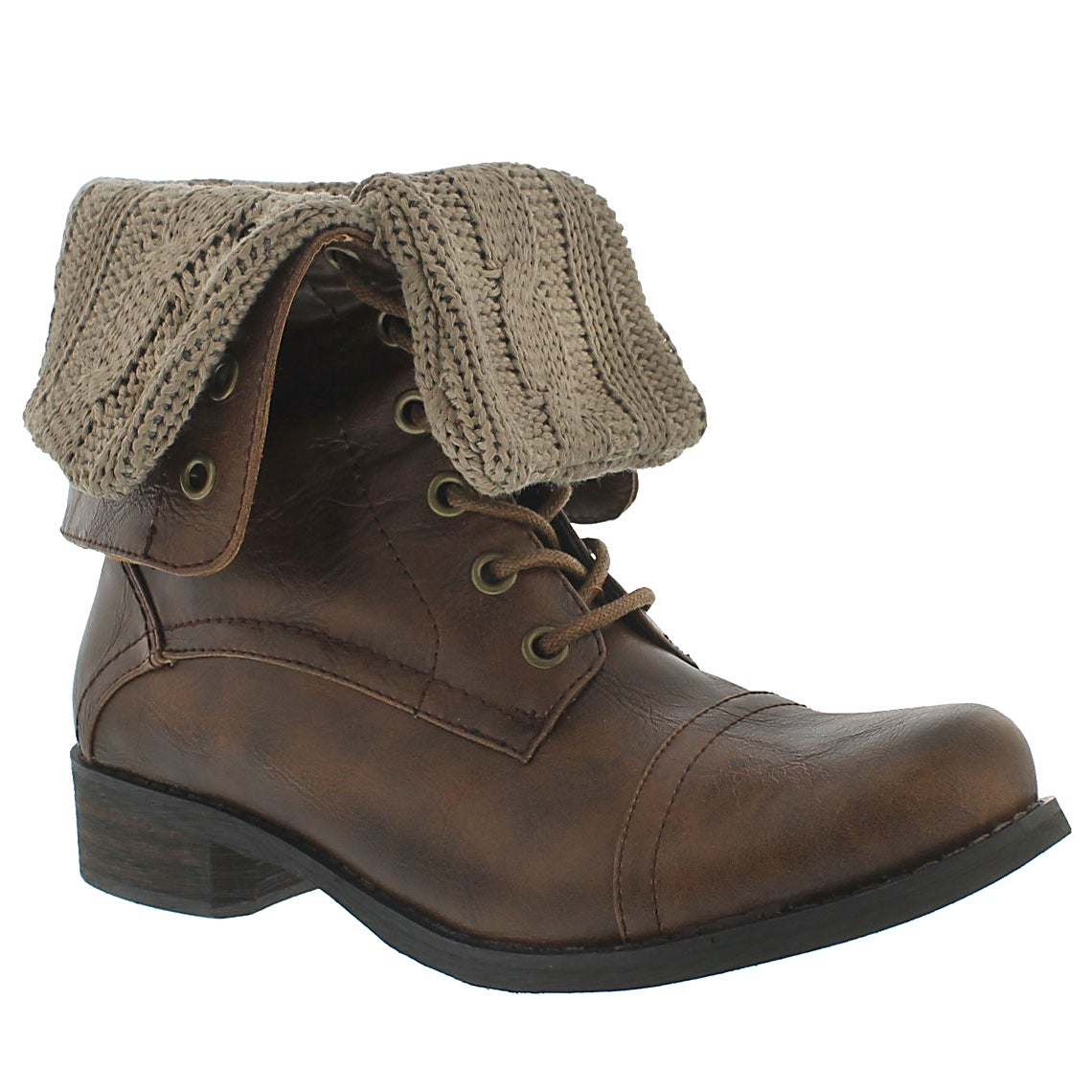 Women's BEV brown lace up fold down combat boots