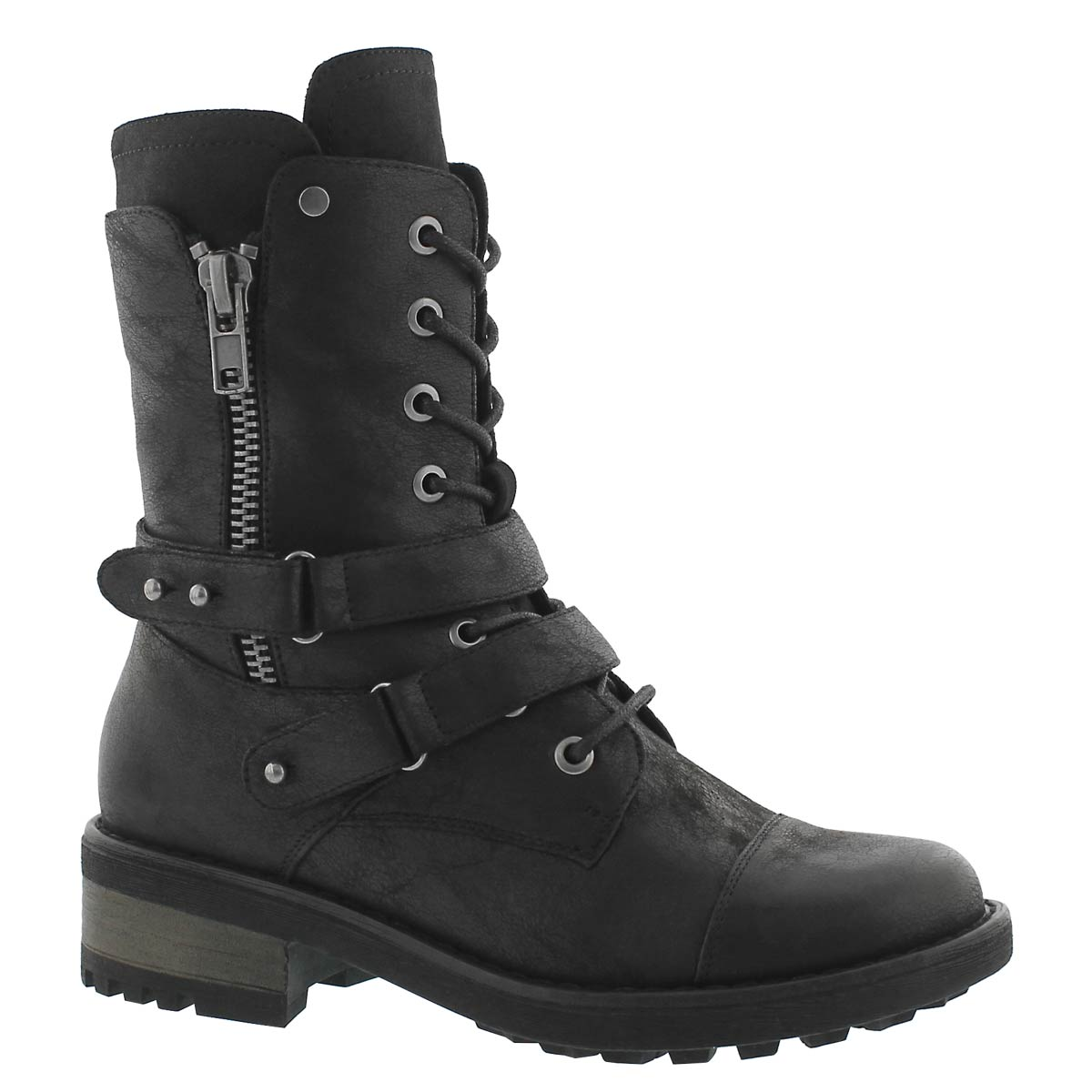 Women's BEX black lace up combat boots