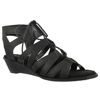 SoftMoc Women's BEYONCE black wedge gladiator sandals