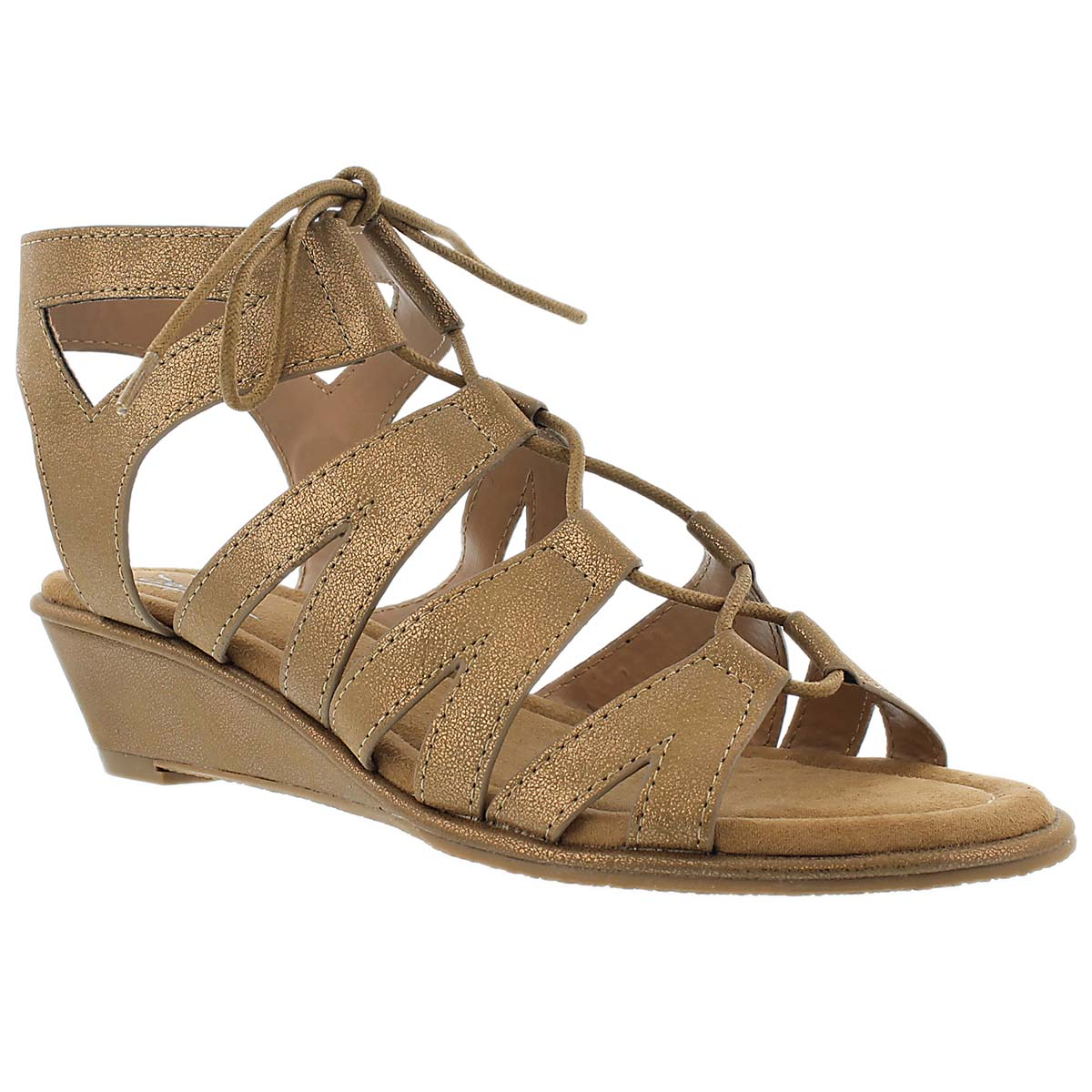 Women's BEYONCE copper wedge gladiator sandals