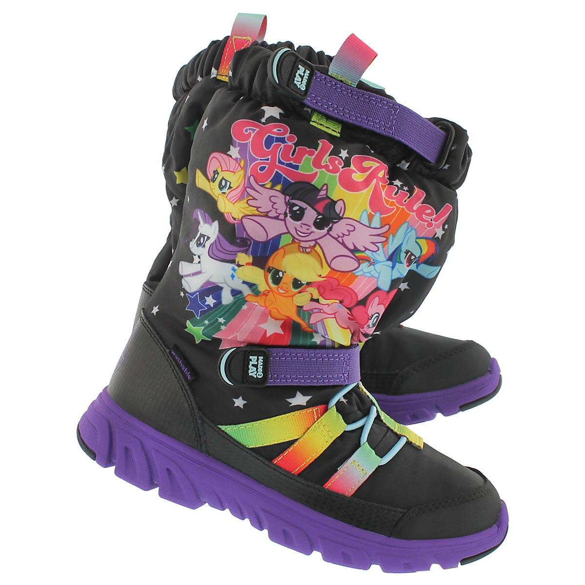 Grls M2PSneakerBootMLP blk/mlt wntr boot