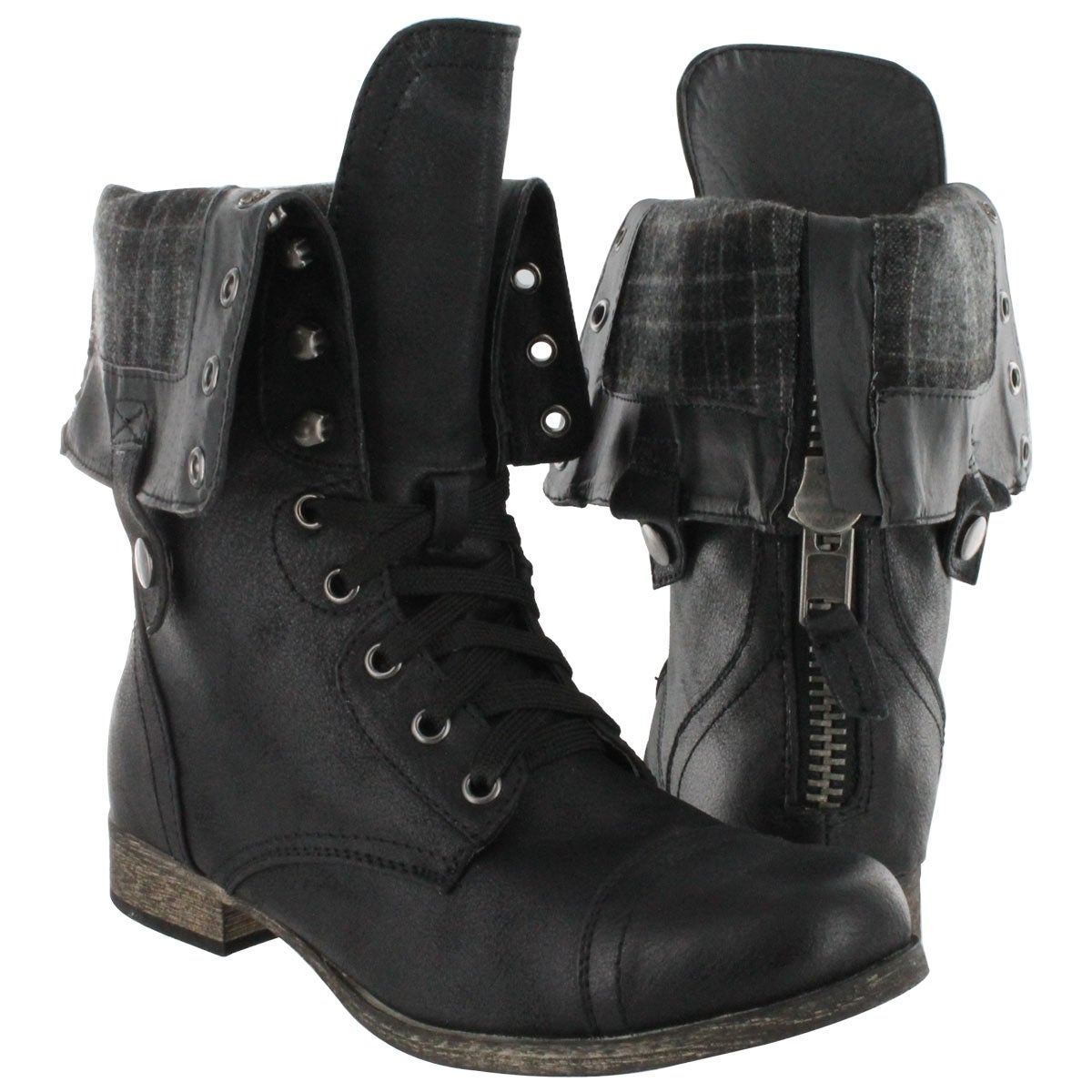 New  Black Combat Boots Cute Shoes Boots Leather Lace Folding Over