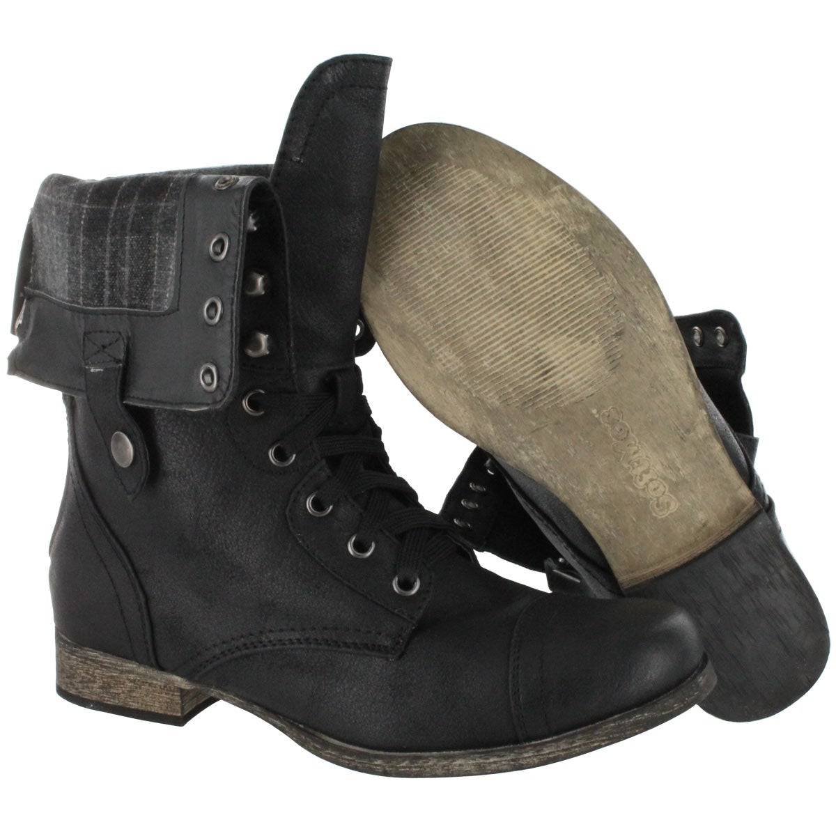fold down black combat boots | Gommap Blog