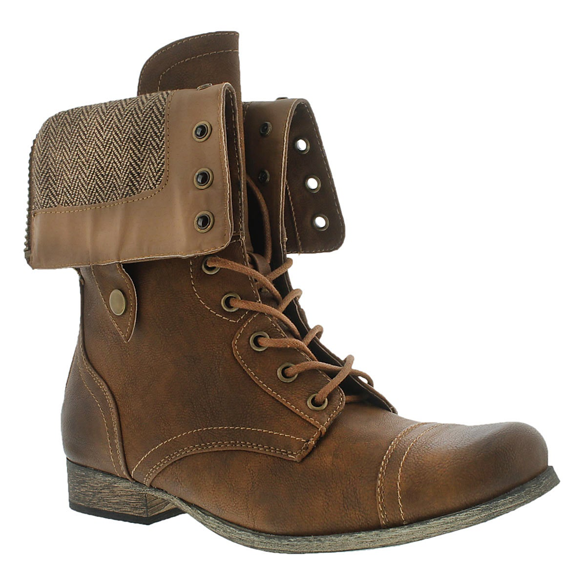 Brown Fold Over Combat Boots Women Fold over combat boots