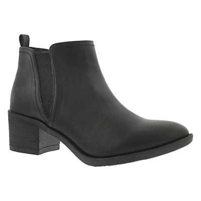 SoftMoc Women's BITSY black slip on ankle boots