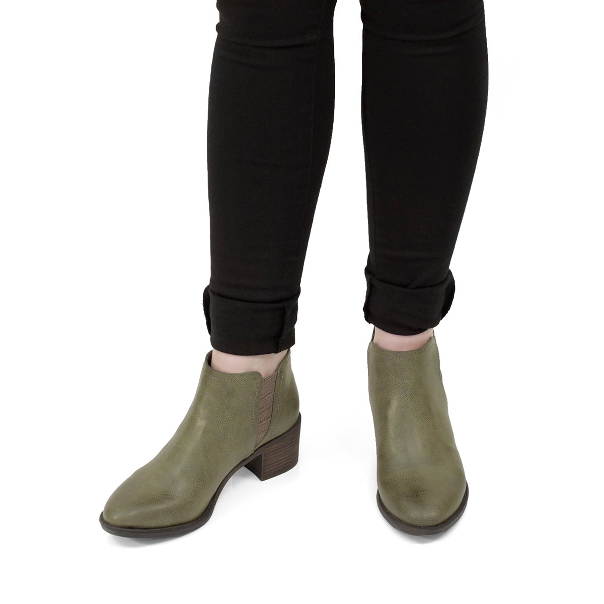 Lds Bitsy taupe slip on ankle boot