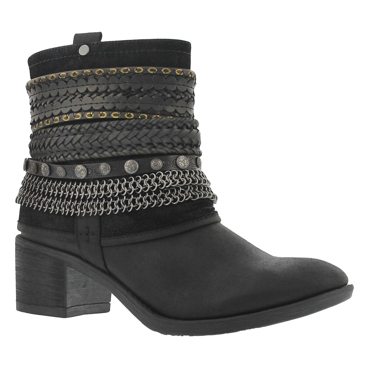 Lds Bizou blk zip up casual ankle boot