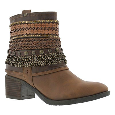 Lds Bizou brn zip up casual ankle boot